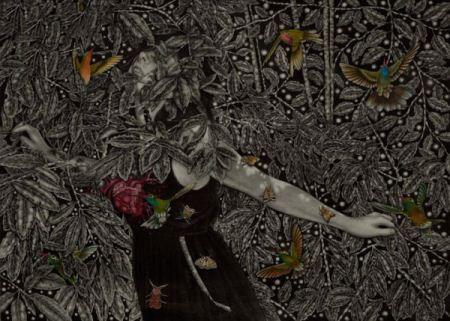 عکس های نقاشی شده دختران زیبا بر روی چوب