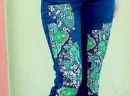 آموزش تزئین شلوارهای لی و جین آبی رنگ