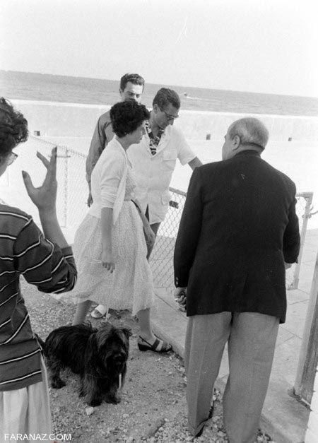 عکس های بی شرمانه محمدرضا پهلوی و ثریا در ساحل