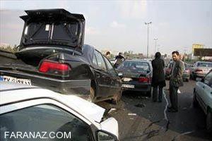 تصادف دلخرش زنجیره ای در کرمانشاه