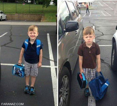 تصاویر خنده دار اولین روز مدسه و عکس العمل دانش آموزان