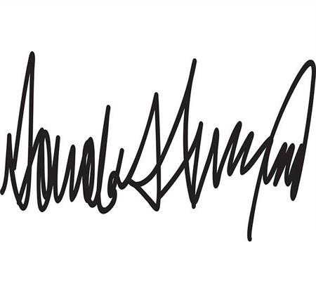 عکس امضای خاص و عجیب دونالد ترامپ