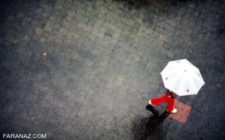 عکس خاص عاشقانه دختر عاشق زیر باران برای پروفایل