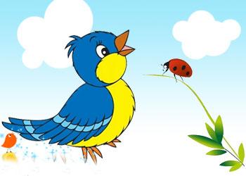 قصه کودکانه ی پرنده و کفشدوزک